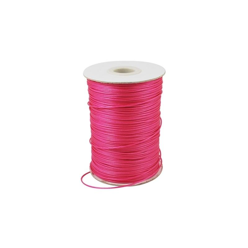 Fil polyester ciré rose 1mm x 1m