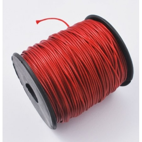 Fil polyester ciré rouge 1mm x 1m